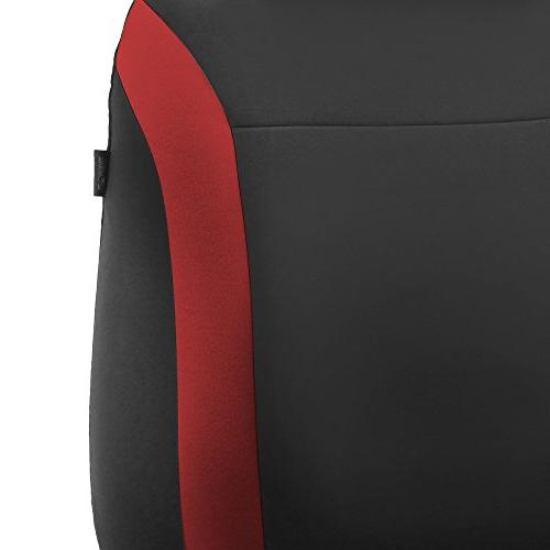 FH Group FH-FB054115 Cosmopolitan Cloth Seat Covers, Airbag Compatible Split Red/Black -Fit Car, SUV, Van