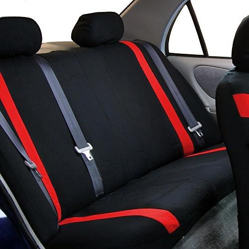 FH FH-FB054115 Cosmopolitan Seat Covers, Airbag Split Red/Black -Fit Most Truck, SUV,