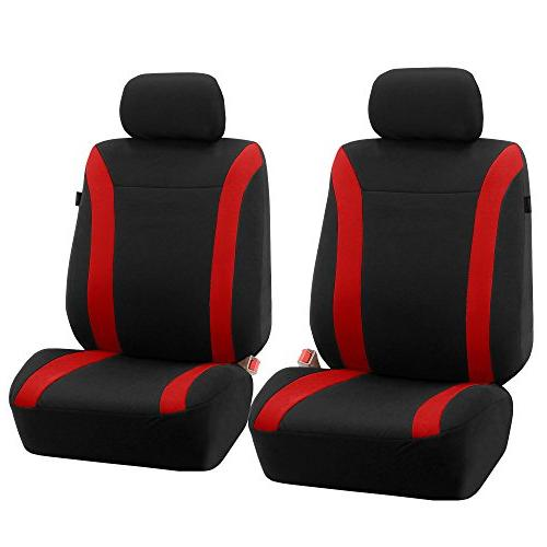 Cosmopolitan Cloth Seat Covers, Compatible and Split Red/Black -Fit Car, SUV, or