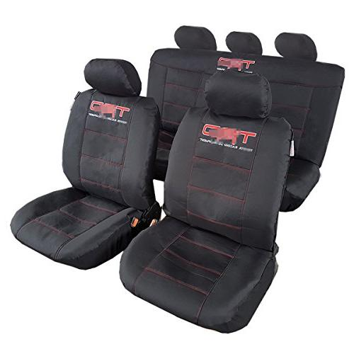 ITAILORMAKER Jet Black Rugged Canvas Full Set Car Seat Cover
