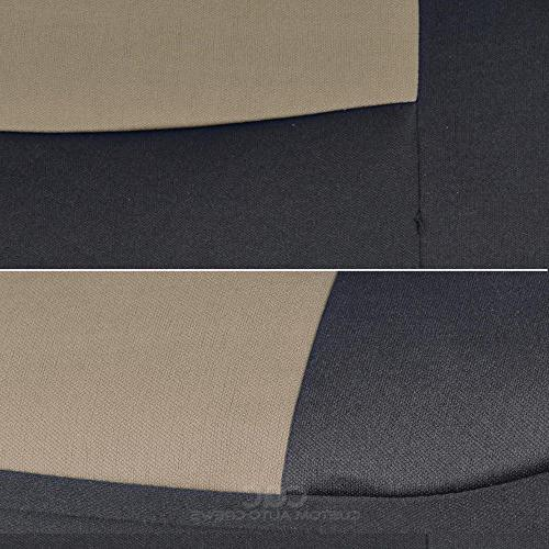 Two-Tone Car Seat Covers Motor Dual-Accent Duty Rubber Floor - Black/Beige