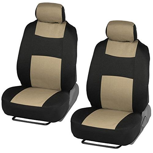 Two-Tone Car Seat Covers w/ Dual-Accent Floor Mats