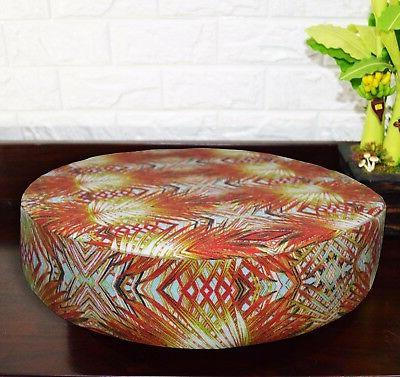 AF254r Red Orange Plant Cotton Canvas 3D Round Seat Cushion