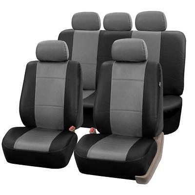 FH Leather Airbag Split Bench Car Seat Covers,