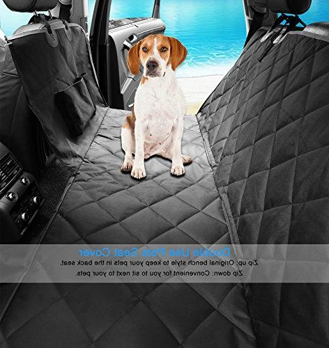 Dog Waterproof Pet Car Covers with Seat & Zipper & Nonslip Back Seat Cover Dog Convertible Extra Side Flaps for Cars Suvs