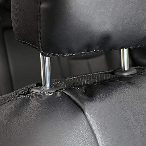 Faux Sideless Seat Covers SUV Front Black Headrest Covers - Leader
