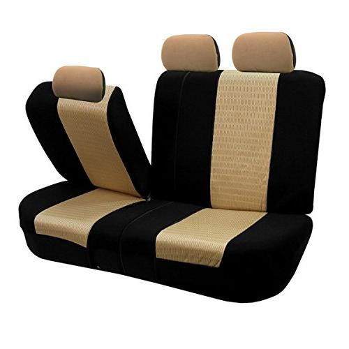 FH-FB060115 Trendy Elegance Seat Covers, Airbag compatible and Split Bench, / Black