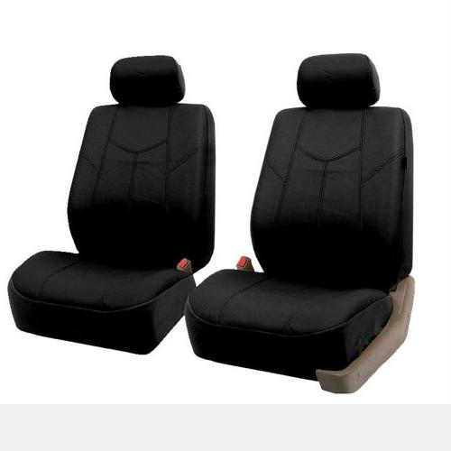 FH Rome PU Leather Car Covers, Airbag compatible and Split Solid Black Most Car, or Van