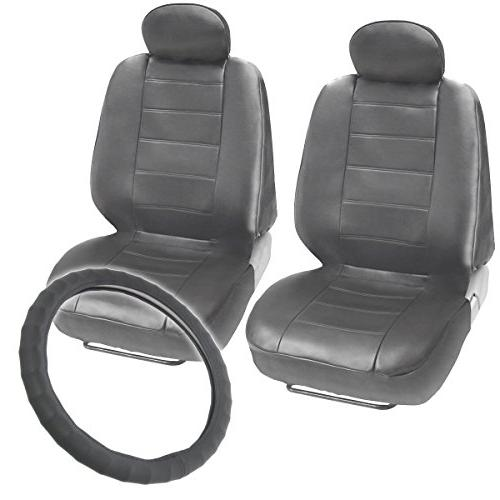 gray leatherette front seat covers genuine leather