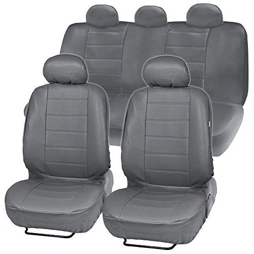gray synthetic leather seat covers for car