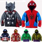 Kids Boys Superhero Spiderman Hooded Jacket Coat Hoodies Swe