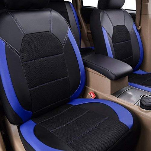 CAR PASS Leather Mesh Car Seat Covers, for Trunkcs,Suvs,Airbag Compatible,Inside Design and Holes Headrest