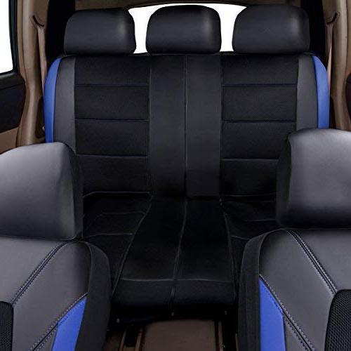 CAR PASS Leather Mesh Car Seat Sedans, Trunkcs,Suvs,Airbag Compatible,Inside and Opening Headrest