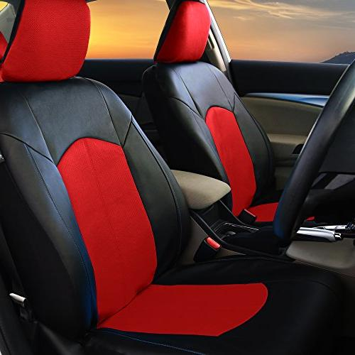 LIMITED 30% OFF: FH Perforated Leatherette Full Car Seat Covers Red Color - Fit Most Truck, Suv,