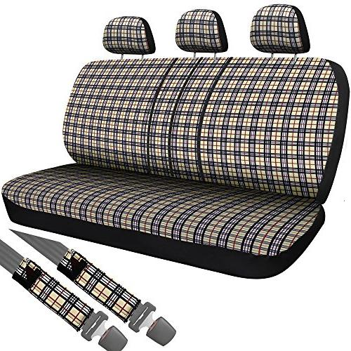 plaid bench seat cover set for car