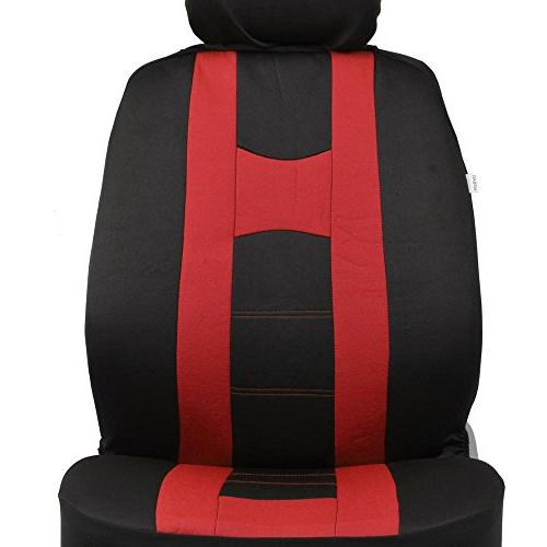 PolyCloth Sport Seat Covers Rubber Mats Wheel Cover for Auto Car SUV Truck - Two To