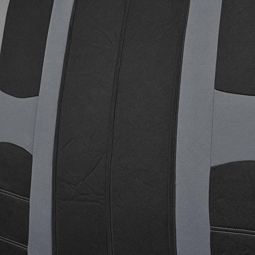 PolyCloth Sport Seat Rubber Floor Mats Steering Auto SUV Truck - Two Tone Black & Gray