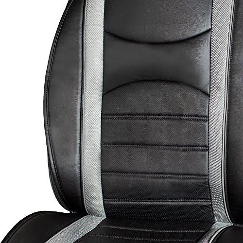 FH Group Leatherette Front Cushions, Gray/Black Most Car, or Van