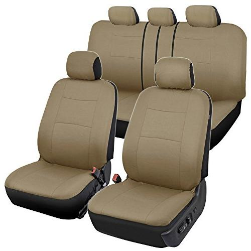 tan trim black car seat