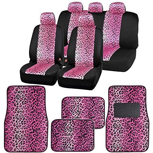 two tone leopard print seat covers