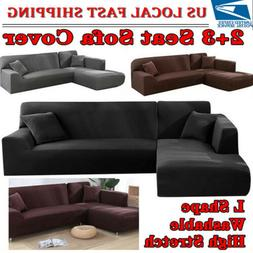 L Shape Stretch Elastic Fabric Sofa Cover Sectional Couch Pr