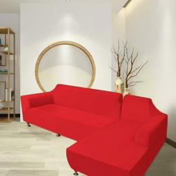 L-shaped Elastic Fabric Sofa Cover 2+2 Seats Red Sectional C