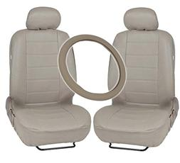 Motor Trend Leatherette Seat Covers & Steering Wheel Combo -