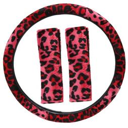 OxGord Leopard Steering Wheel Cover, Red