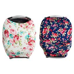 Kids N' Such 2 Pack Bundle of Navy Floral Multi Use Car Seat