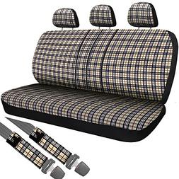 OxGord Plaid Bench Seat Cover Set for Car, Truck, Van, SUV -