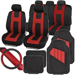 PolyCloth Sport Seat Covers Rubber Floor Mats Steering Wheel