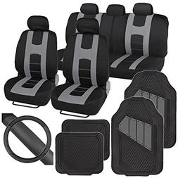 PolyCloth Sport Seat Covers Rubber Floor Mats & Steering Whe