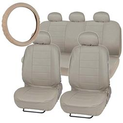 Motor Trend Premium Leatherette Car Seat Covers - Taupe Beig