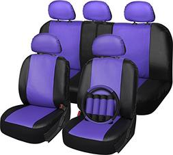 OxGord 17pc PU Seat Cover, Purple & Black