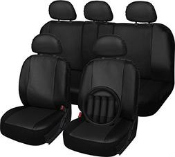 OxGord 17pc PU Seat Cover, Black