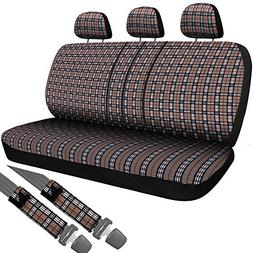 OxGord SCFC-G1D-BG 2pc Plaid Car Seat Cover Set for Car, Tru
