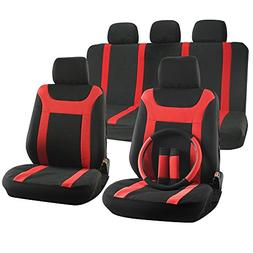 OxGord 17pc Set Flat Cloth Mesh Red Black Y Stripe Seat Cove