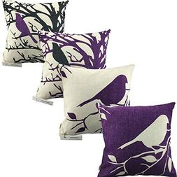 LAZAMYASA Square Cartoon Bird Printed Cushion Cover Cotton T