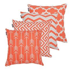 Accent Home Square Printed Cotton Cushion Cover,Throw Pillow