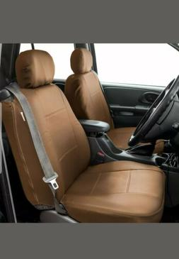 FH Group Tan PU Leather Bucket Seat Covers with Side Zipper