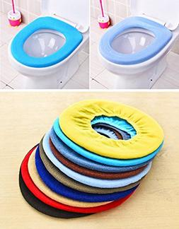 Lautechco 3pcs Toilet Seat Cover Warmer Mat Colorful Bathroo