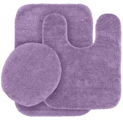 3 Piece Traditional Bath Rug Set, Purple