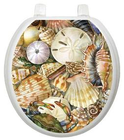 Toilet Tattoos TT-1077-R Tidal Treasures Seashell, Round