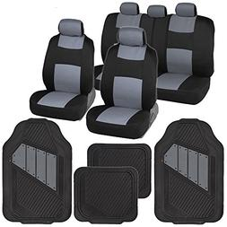 Two-Tone PolyCloth Car Seat Covers w/ Motor Trend Dual-Accen