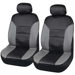Motor Trend Two Tone PU Leather Car Seat Covers - Black Clas
