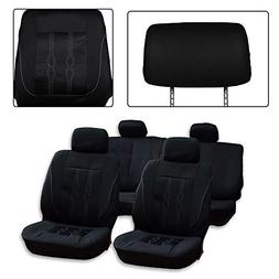 SCITOO Universal Black Car Seat Cover W/Headrest 9PCS Breath
