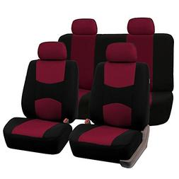 FH Group Stylish Cloth Full Set Car Seat Covers, Burgundy/Bl